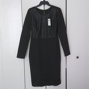 BCBG Faux Leather and Black Dress